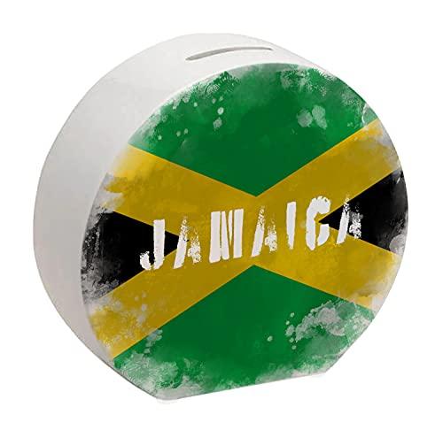 Spardose mit Jamaika-Flagge im Used Erscheinungsbild - Sparschwein für Urlauber eine schöne Sparbüchse mit der jamaikanischen Nationalflagge verziert um auf die Reise nach Jamaika zu sparen