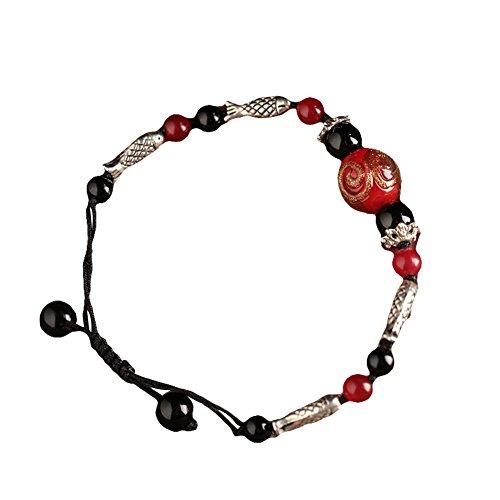 Vintage Bracelets en verre et agate Poisson Pattern Bracelets tissés à la main