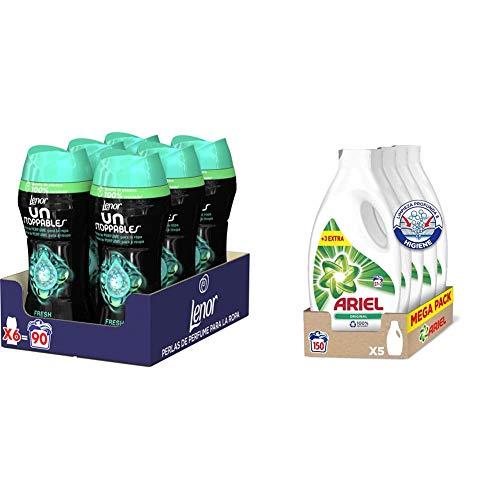 Ariel Detergente Lavadora Líquido, 150 Lavados (5 x 30), Original + Lenor UNstoppables Perlas de Perfume para la Ropa, 90 Lavados (6 x 210 gr), Fragancia Fresh