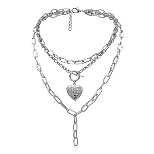 Ingemark Statement Cool Punk Chunky Chain Necklace for Women Girls Heart Shaped Photo Locket Pendant Layered Pearl Choker Necklace (Style 1 Silver)