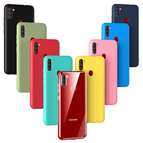 Oududianzi - 9X Hülle für Samsung Galaxy M11, [Regenbogen-Serie] Weich Matte Hülle TPU-Silikon Handyhülle [ Transparent + Schwarz + Pink + Dunkelblau + Rot + Minzgrün + Gelb + Grün + Blau ]