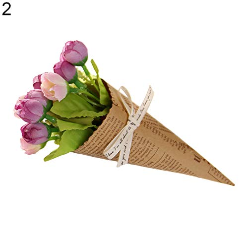 Ukallaite réaliste Superbe Bouquet Simulation papier kraft Faux Bouquet de fleurs Prop Home Décoration de fête de mariage – 1 # #2