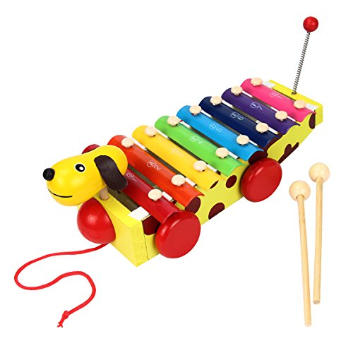 Mochiglory 8 Music Scale Knock Piano Music Xylophone Toys Dog With Carillon Mallets Educational Beginner Instrument