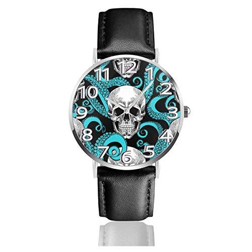 Reloj Octopus King Sugar Skull Azul Reloj de Pulsera de Cuero de PU Duradero Reloj de Cuarzo Life Silence con Acero Inoxidable Plateado