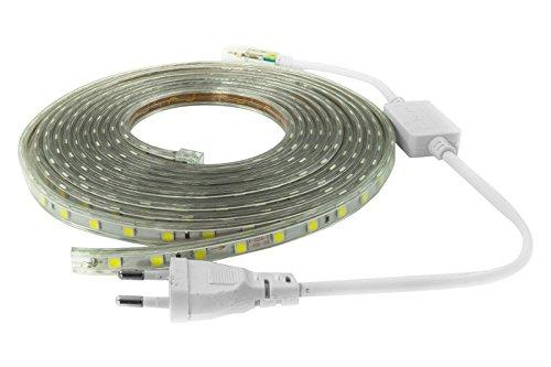 terryshop74 Nuova Striscia LED 220 Volt 5050 Bianco Freddo 5 Metri 60 LED/m ip65 compreso Controller e Spina