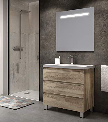 EL ALMACEN DEL PROFESIONAL Juego de Mueble de Baño Modelo Noruega Resina, Conjunto formado por Mueble de Baño Estilo Madera Color Bora-Bora Ancho 80cm, Lavabo de Resina y Espejo a Juego