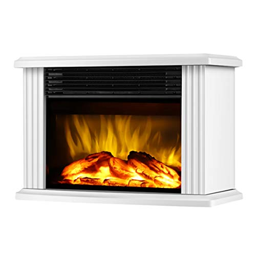 """DONYER POWER 14"""" Mini Electric Fireplace Tabletop Portable Heater, 1500W, White Metal Frame,Room Heater,Space Heater"""