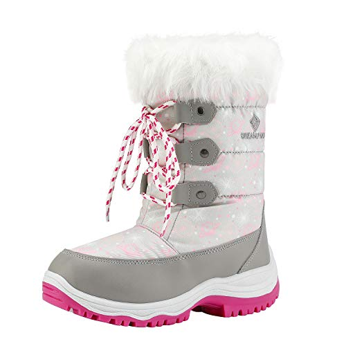 DREAM PAIRS Big Kid Nordic Grey Pink Ankle Winter Snow Boots Size 4 M US Big Kid