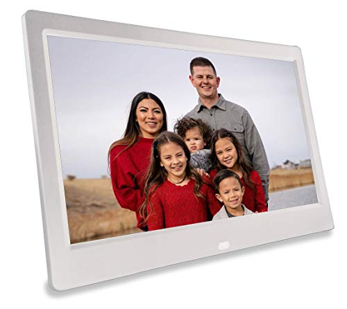 Phone2Frame 10 Inch Digital Picture Frame with Photo Backup Stick Universal USB (64GB) to Get from Phone or Computer to Frame Without WiFi, Email, or Accounts (White) Digital Frames Picture