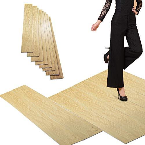 Nisorpa 8 Pack Vinyl Planks Flooring Tiles - 48x7inch Interlocking Waterproof SPC Wood Grain Tiles with Cork Underlay for Home Office Bathroom DIY Installation