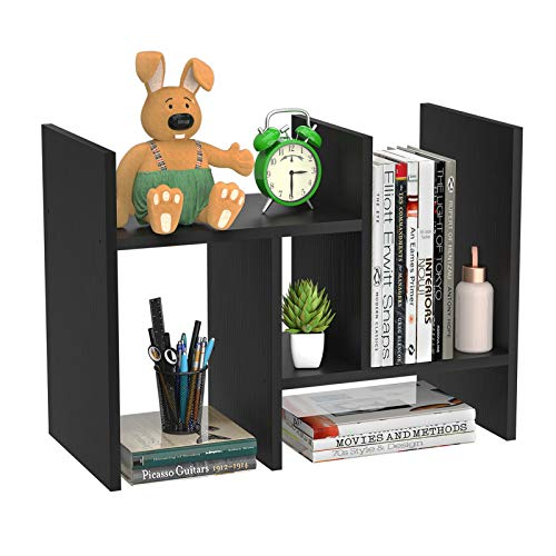 FoxEmart Wood Desktop Shelf, Adjustable Display Bookshelf for Desk, Countertop Storage Rack...