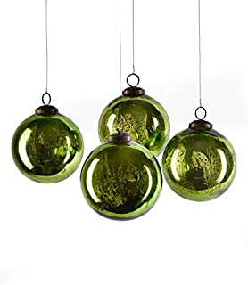 Serene Spaces Living Set of 4 Antique Green Mercury Glass Balls, Ornaments for Holiday Décor, Measures 4