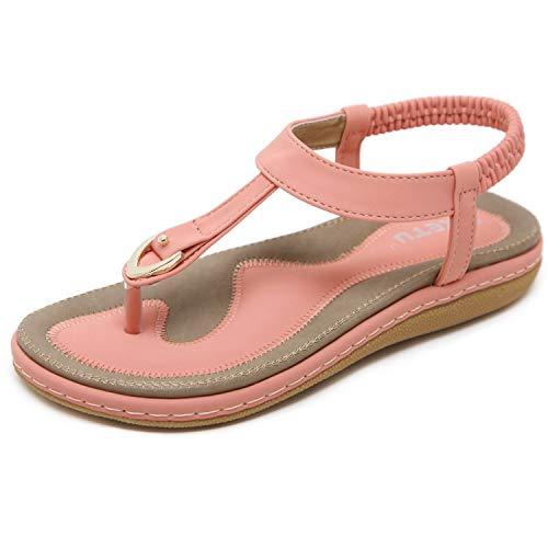 JIANKE Sandalias Mujer Verano Planas Bohemia Sandalias Cómodo Casual Zapatos de Playa (Pink, numeric_40)