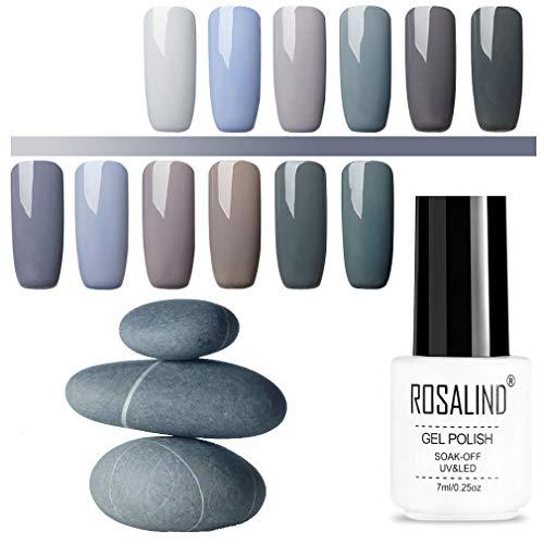 ROSALIND Gel Nagellack Set Graue Serie 12 Farben UV Gellack Mehrfarbig Hochwertiger Base und...
