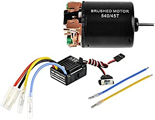 FastWin 540 45T 4 Poles Brushed Motor and WP-1060-RTR 60A Waterproof Brushed ESC Electronic Speed Controller with 5V/2A BEC for Axial RC4WD CROSS HPI MIST GMADE D90 D110 TF2 SCX10 ii PG4 MC8 WARAITH Y