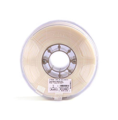 eSUN 1.75mm Natural ABS 3D Printer Filament 1kg Spool (2.2lbs), Natural