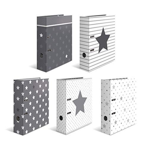HERMA 7188 Motiv-Ordner DIN A4 Sterne 10er Set, 7 cm breit aus stabilem Karton mit hochwertigem Innendruck, Ringordner, Aktenordner, Briefordner, 10 Ordner