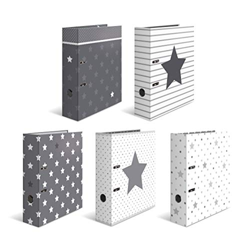 HERMA Archivadores de anillas con palanca Estrellas, motivos surtidos, A4, 70 mm, con estampado interior, Paquete de 10