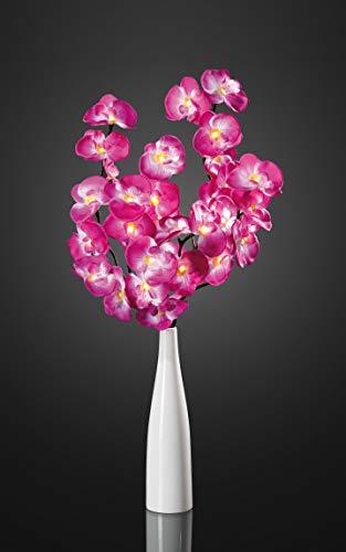 Hellum LED Orchidee pink violett mit Dekovase für innen, 80cm, 32 LEDs warm-weiß mit Transformator, 300048