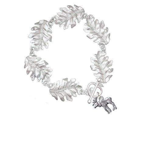 Delight Jewelry Silvertone Moose - Leaf Charm Bracelet