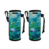 2 Pack Insulated Neoprene Water Bottle Sleeves Carrier Holder Tote Bag Protect for Cooler/Coolie/Cover/Insulator/Holder/Huggie/Sleeve for 16.9 oz Water and Drink Bottle (Water Lilies x 2)