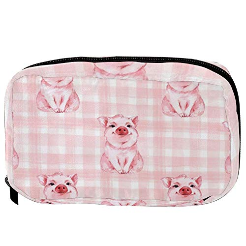 TIZORAX Cosmetic Bags Cute Pigs In Pink Checked Handy Toiletry Travel Bag Organizer Makeup Pouch for Women Girls