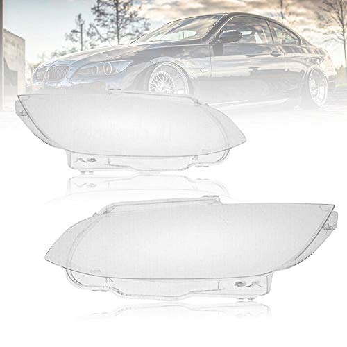 Pair of Headlight Lens Cover Replacement for 2006-2009 BMW E92 E93 2-Door, 2008-2012 M3, both Driver and Passenger Sides, Clear Lens with Clean and Revitalized Appearance (2006-2009 E92 E93)