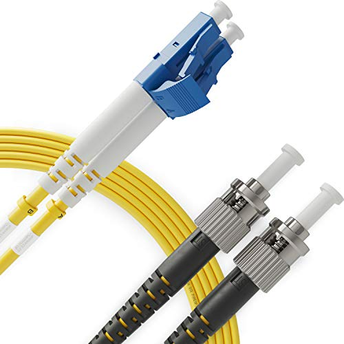Cable de Fibra Óptica LC a ST 1M Monomodo Duplex - UPC/UPC - 9/125um OS1 (LSZH) - Latiguillo Doble Fibra Óptica - Beyondtech PureOptics Cable Series