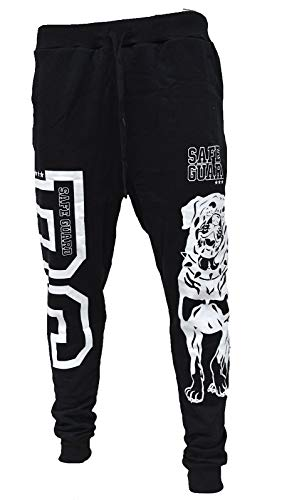 iProfash Jogginghose Dog Sporthose Fitness Bull Hund Guard Training Sport Jogging S-3XL, (M701 Black/White, XL)