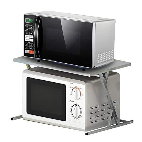 JUNYYANG Soporte de flor de 2 niveles de microondas horno de carro soporte de acero inoxidable Estante de la cocina, cocina de arroz del estante de la especia de gabinete en rack Estante de almacenami