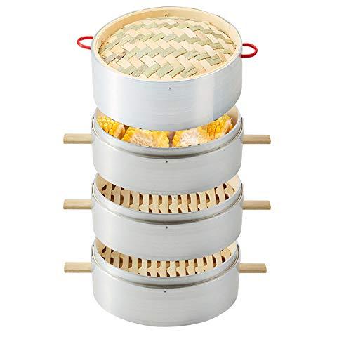 Handgefertigter Bambus-Dampfgarer, 1-4 Etagen-Körbe, 30 CM (11.81Pulgadas), Dim-Sum-Knödel, Hühnerfisch und Fleisch,3+1