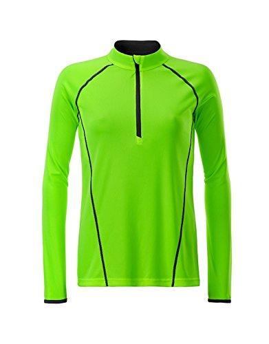 2Store24 Ladies' Sportsshirt Longsleeve in Bright-Green/Black Größe: XL