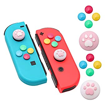 Paw Print Thumb Grip Caps for Nintendo Switch Button Cap Set for Nintendo Switch Joy-con - PinkWhite