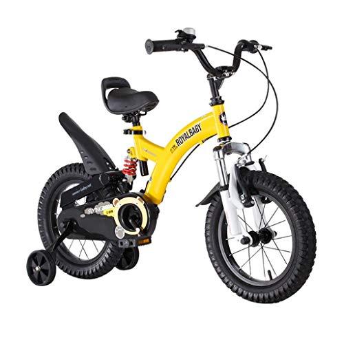 seveni Kinderfahrräder, Kinder 3-9 Jahre alt Fahrrad Junge Mädchen Pedal Balance Auto Junge Mountainbike 12-18 Zoll Outdoor Sportfahrrad (Farbe: Gelb, Größe: 18in)