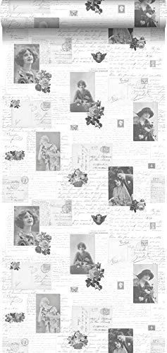 behang vintage ansichtkaarten zwart en wit - 138128 - van ESTAhome