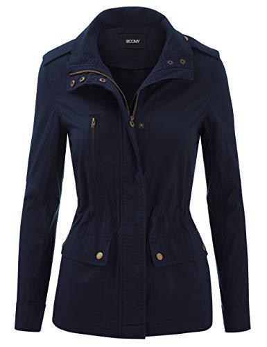 FASHION BOOMY Women's Zip Up Safari Military Anorak Jacket with Hood Drawstring - Regular and Plus Sizes Medium L-Navy