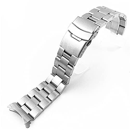 ZZDH Correas Relojes Black, Plata Reloj Curvado con una Correa de Metal de Acero Inoxidable Neutro Pulsera de Cierre Plegable de Dos vías 20 mm 22 mm Adecuado para Hombres y Mujeres