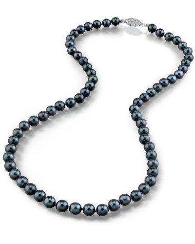 Schwarze Japanische Akoya Perlenkette 6-6,5mm AAA Süßwasser Zuchtperlen Princess Länge 45cm - Weißgoldverschluss