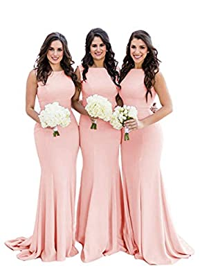 Mermaid Bridesmaid Dresses Long Formal Gowns Backless for Women Spandex Peach US8