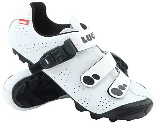 LUCK Zapatillas de Ciclismo MTB ODÍN con Suela de Carbono y Cierre milimétrico de precisión. (41 EU, Blanco)