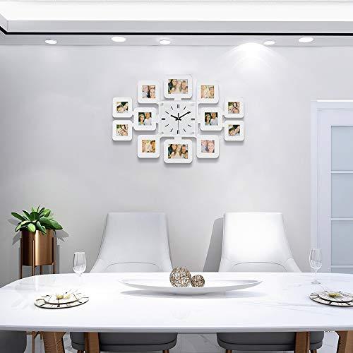 FT 23.8' Big Large Wall Clock for Living Room Decor Wood Photo Frame Decorative Wall Clock Wall Decor for Living Room Bedroom (White)