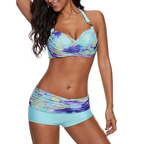 2021 Nuevo Mujer Conjuntos de Bikinis Punta Push Up Trajes de Baño de pantalones cortos Cintura alta dos piezas impresión Ropa de Playa Sexy Cordón Tankinis Beachwear Natacion Bañador