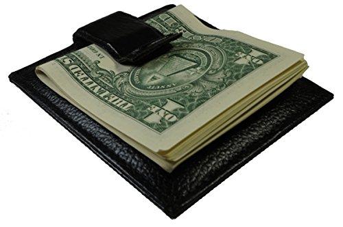 Bullz Men's Leather Money Clip Front Pocket Wallet Black