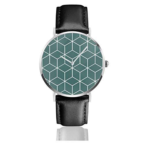 Quarz-Armbanduhr, würfelförmig, geometrisch, blaugrün, wasserdicht, PU-Lederarmband, klassisch, lässig, Edelstahl