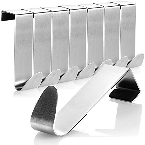 com-four® 8X Türhaken aus Edelstahl - Kleider-Haken mit Schaumstoff-Schutz - Garderobenhaken für Schranktür und Zimmertür - 7,5 cm (7.5cm)