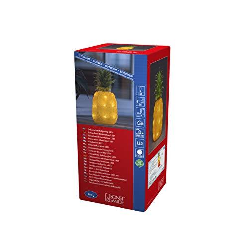 Konstsmide, 6277-103, LED Acryl Ananas, 16 warm weiße Dioden, 24 Außentrafo, weißes Kabel