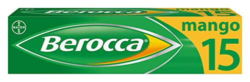 Berocca Vitamin C Effervescent Tablets, with Magnesium, Vitamin B12 and Vitamin B Complex, Mango Flavour, 1 Pack of 15 Tablets - 2 Weeks Supply