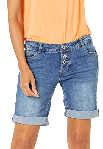 Sublevel Damen Jeans Bermuda-Shorts mit Denim Aufschlag Middle-Blue L