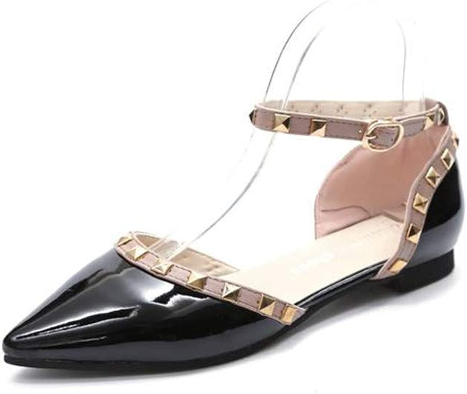 NingYu Women Flats shoes Rivet Pointed Toe Patent Leather Gladiator Sexy Stud Flat shoes