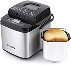 Briskind 19-in-1 Compact Bread Machine, Stainless Steel 1.5LB Small Bread Maker Machine with 50 Recipes, Make Gluten Free, Bread Dough, Jam, Yogurt, Automatic Keep Warm, Delay Start Set, 3 Crust Color